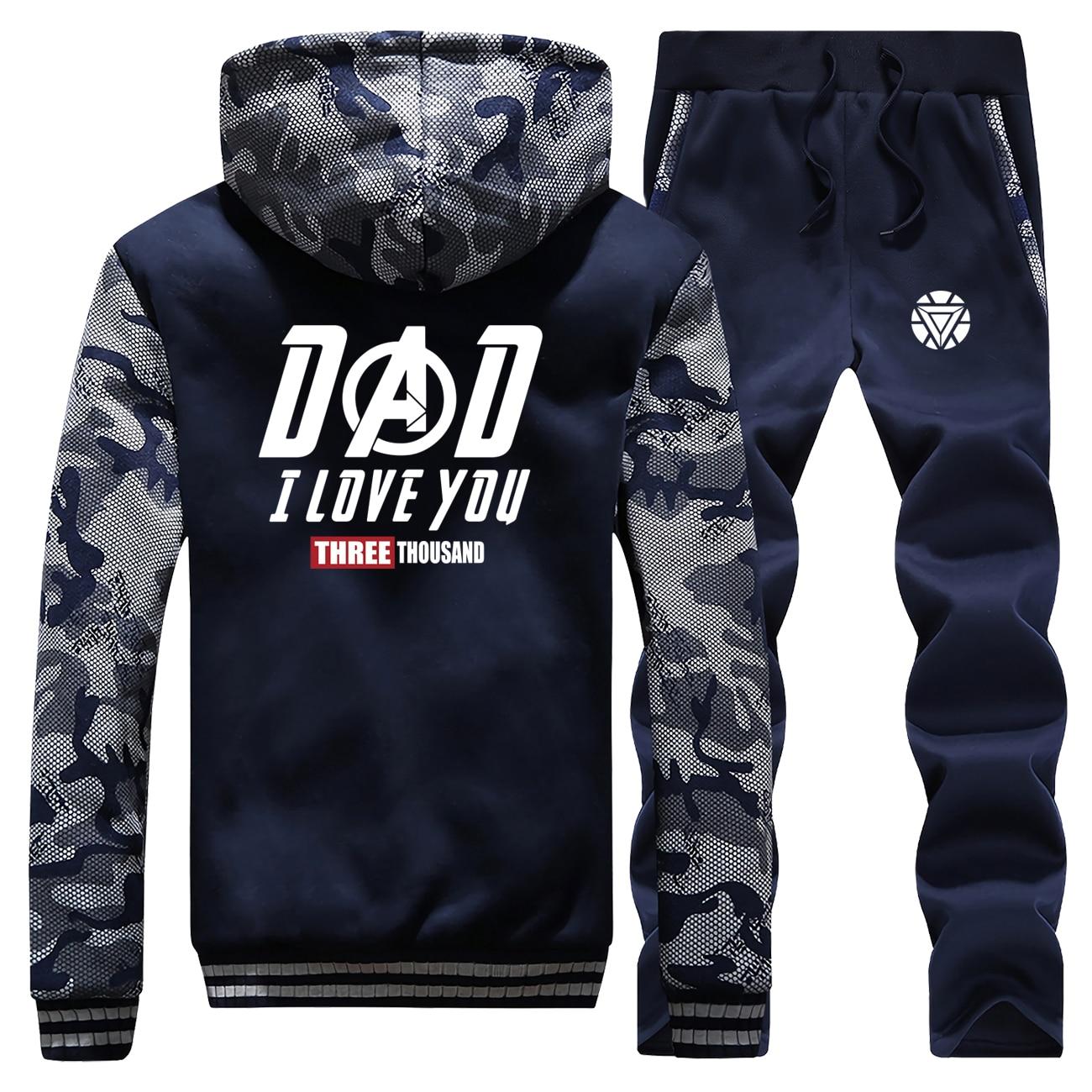 Tony Stark I Love You Three Thousand Thick Camouflage Hoodies+Pants 2 Piece Sets Coat Men Winter Warm Sweatshirt Iron Man Jacket