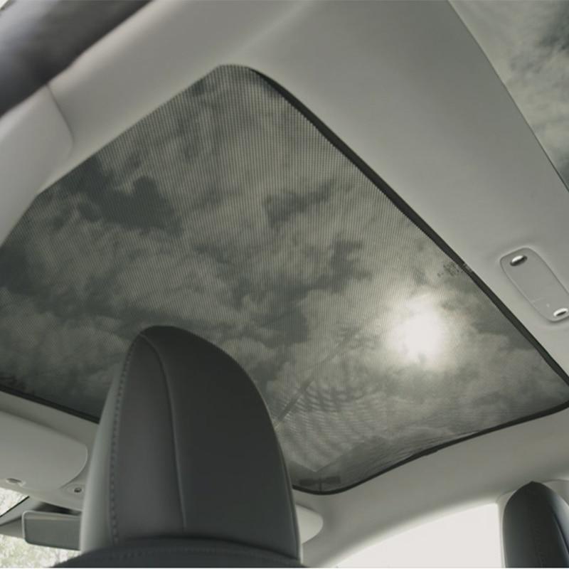 Voor Tesla Model 3 Auto Zonnescherm Glas Dak Zonnescherm Auto Dakraam Blind Shading Netto Uv bescherming Gordijn Mesh - 3