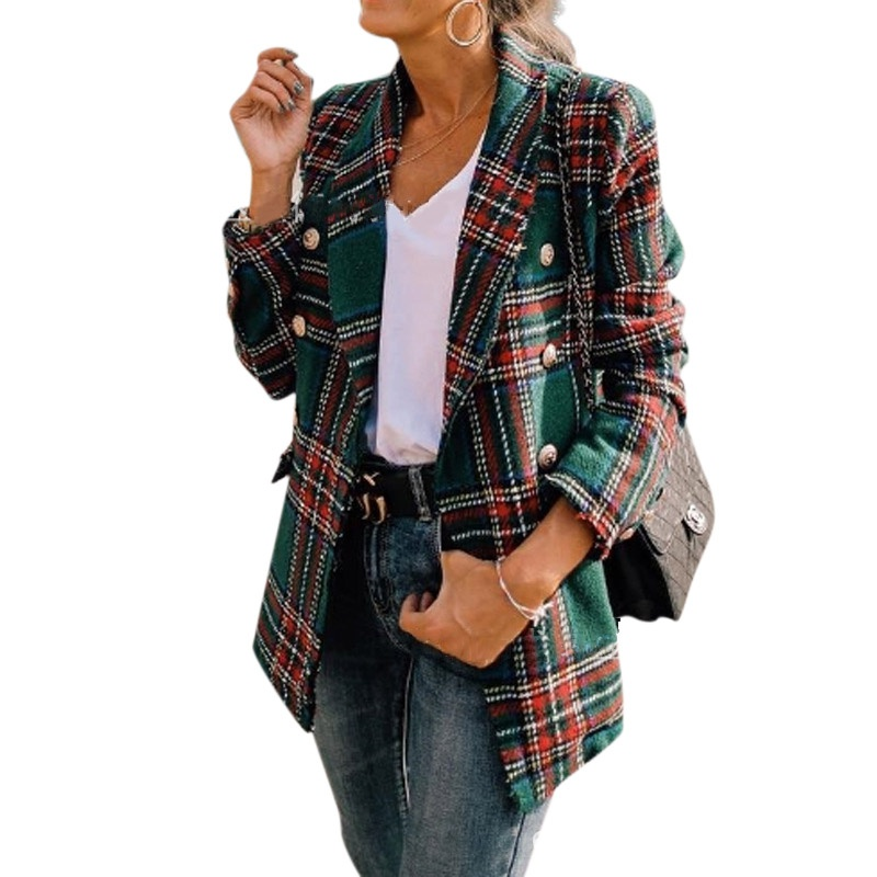 Women Blazer Popular Plaid Cardigan Double-faced Woolen Suit Long-sleeved Casual Hit Color Plaid Blazers Seller Reccomend
