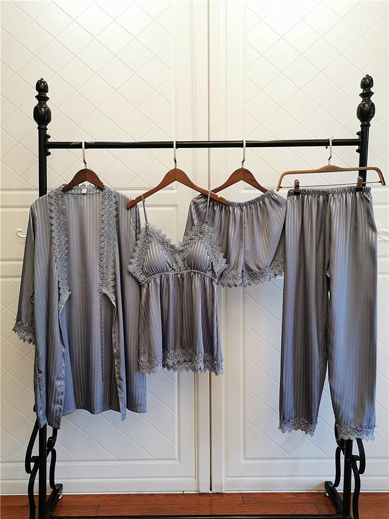 Lace soft Homewear Silk Satin Women Robe Sets Sexy Sleepwear cute pure color Nightwear Spring and summer babydoll set Night Gown