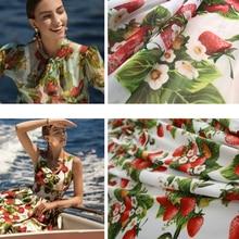 Strawberry printed polyester fabric cloth 145 cm width fashion women shirt children clothing DIY chiffon sewing fabric for dress
