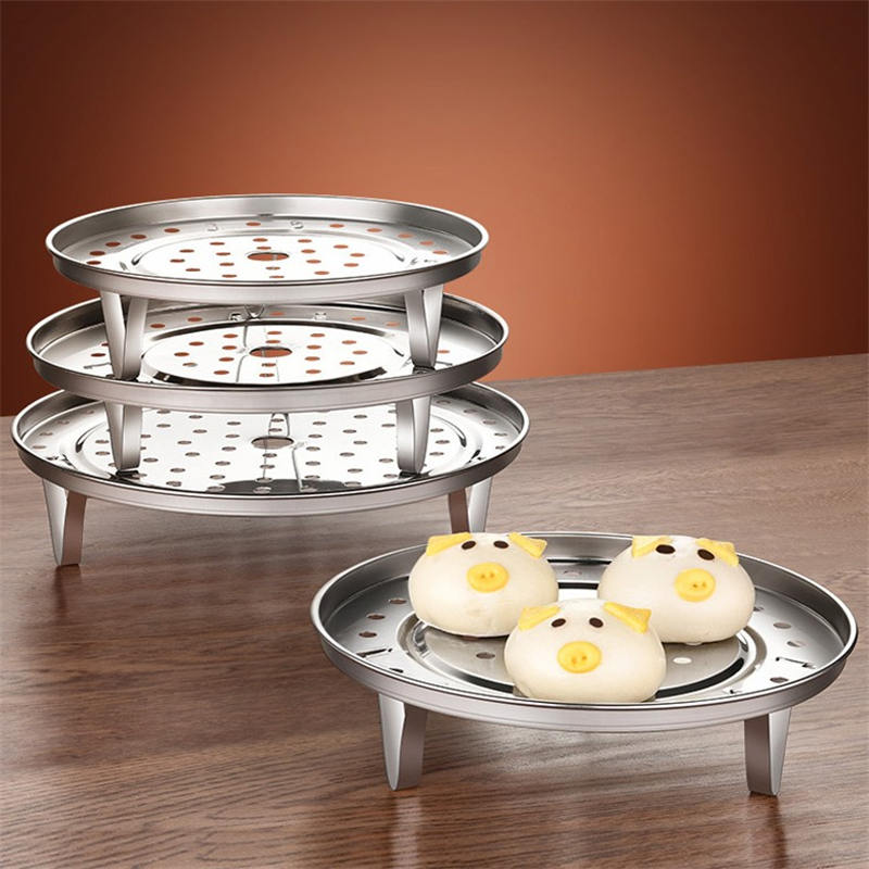 304 Stainless Steel Steamer Rack Three Legged Multifunction Shelf Cookware Bake Tool Round Steaming Stand Tray Kitchen Utensils