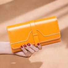 New Fashion Genuine Leather Women Wallet Long Cowhide Multip