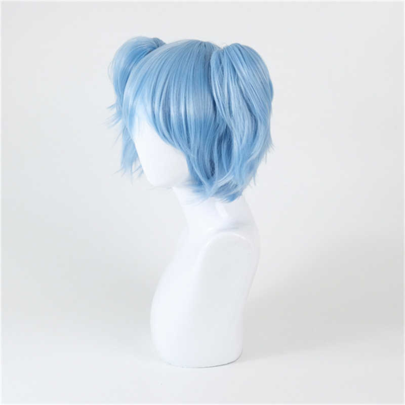 Joy&luck Game Sally Face Cosplay Wig Blue Color Double Ponytail Party Costume Wigs Short Straight Hair Style