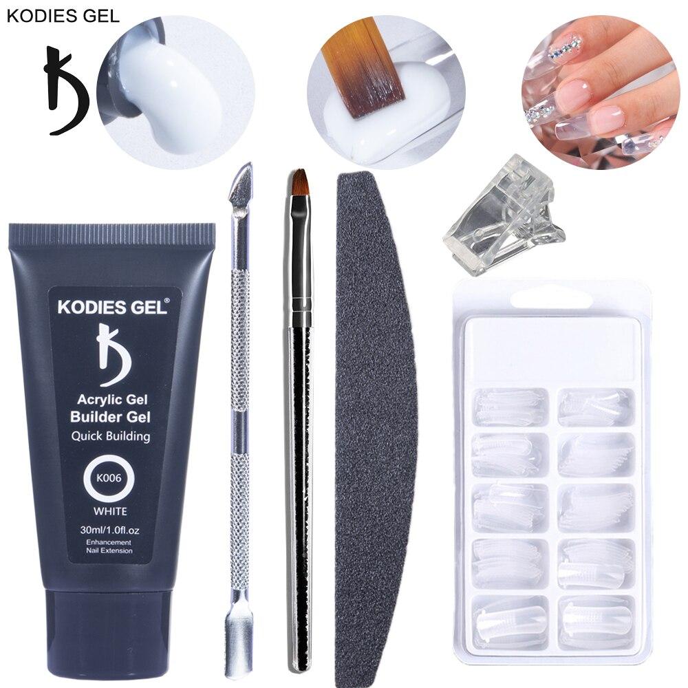 kodies gel 30ml poli construtor gel prego kit acrilico gellak extensao conjunto dicas falsas para manicure