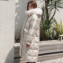 White Duck Down Jacket Women Real Marten Hair Collar Hat Warm Casaco Feminino Veste Femme Korean Winter Long Coat