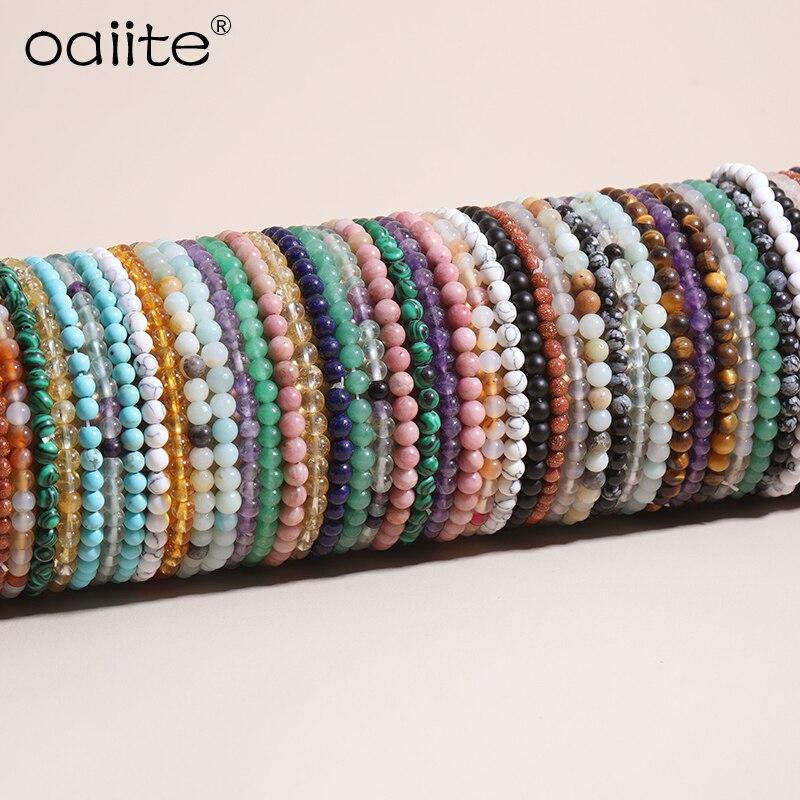 OAIITE 4 мм Мини Энергетические Браслеты из натурального камня, браслет с бусинами для йоги, медитации, мужской и женский браслет, помогает прин...