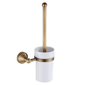 Античная латунь ванная комната туалет щетка набор держатель щетка с керамической чашкой
