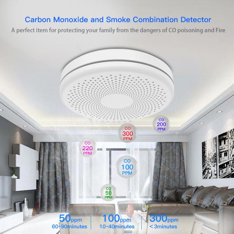 Tuya Smart WiFi Smoke Alarm Sensor Carbon Monoxide Composite Intelligence Home Fire Detector Smoke Alarm Sensor