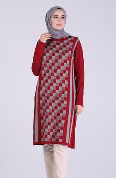 Minahill Claret czerwona tunika 1102-03 tanie i dobre opinie Aplikacje Bluzki i koszule Octan Dla dorosłych