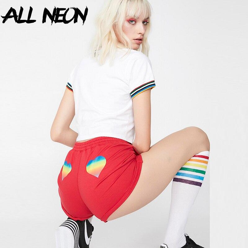 ALLNeon Red Shorts Solid Drawstring Hight Waits Rainbow Heart Cross Shorts Loose Panties Y2K Outfits Streetwear Summer Shorts