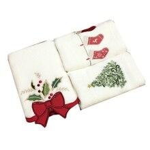 Рождественская серия хлопковых полотенец рождественские колокольчики Рождественская елка чулки полотенца украшения подарки вышитые полотенца Христос