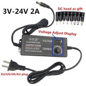 Universal Adapter DC Adaptador 3V 4V 5V 6V 7V 8V 9V 10V 12V 14V 15V 16V 17V 18V 20V 22V 24V 2A Adjustable power adapter supply(China)