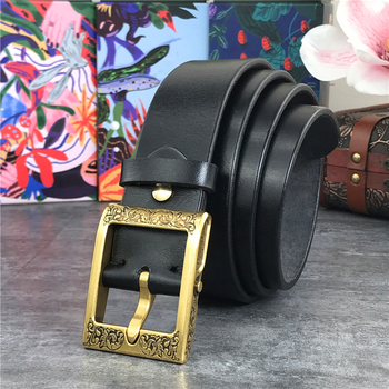 цена Luxury Heavy Carving Brass Belt Buckle Thick Genuine Leather Belt Male Ceinture   Belts Men Leather Black Waist Belt MBT0003 онлайн в 2017 году