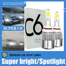 2PCS C6 LED Car Lights LED Bulbs H7 H11 H4 H1 H3 9005 9006 80W LED Lamp Car LED Headlight Auto Fog Light HB3 HB4 12V  24V cooleeon auto headlamp led light h1 h4 h7 car headlight bulbs h11 9005 9006 automotive led lamp kit 12v 24v 80w 9600lm cree leds