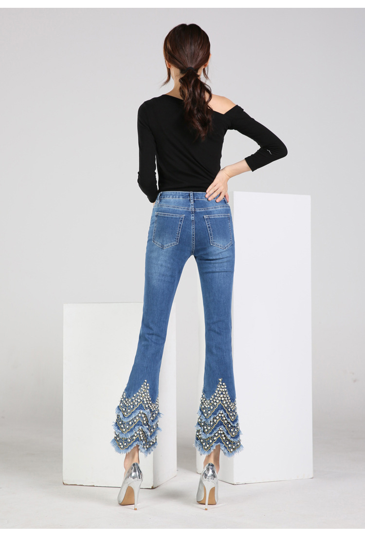 KSTUN FERZIGE Jeans for Women high waist blue elasticity flare pants embroidered beads luxury sexy female trousers brand jeans mujer 15