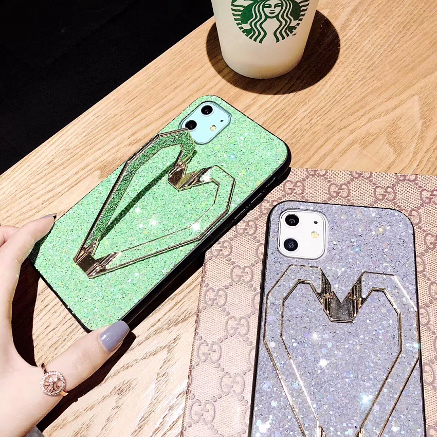 3D Fashion Love Metal Stand Cases For iPhone 11 Pro 11 Pro Max X XR XS MAX 8 7 Plus Luxury Glitter Bling Leather Phone Case Capa (1)