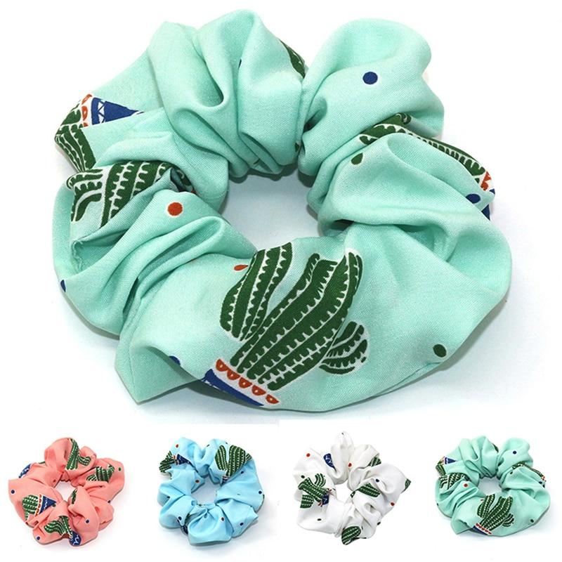 2019 New Summer Print Hair Scrunchie Turban Scrunchie Cactus Hairband For Women Ponytail Holder Hair Ties Girl Accessories