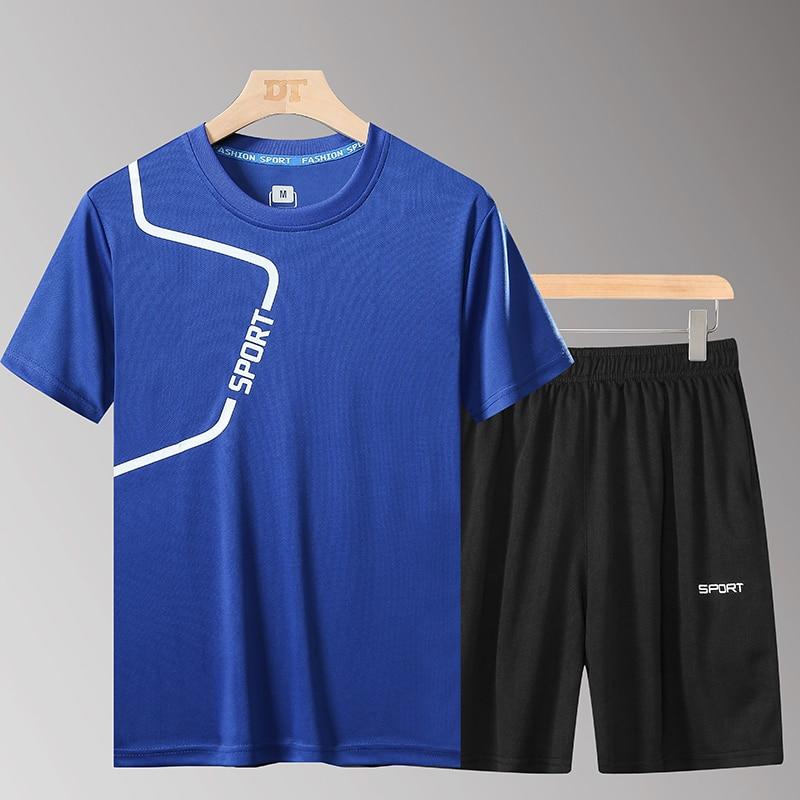 Summer Men's Sportswear Sets Tracksuit Elastic Running Sets Men Sport Sets Fitness Printed T Shirt Homme 2020 Shorts Suits 5XL