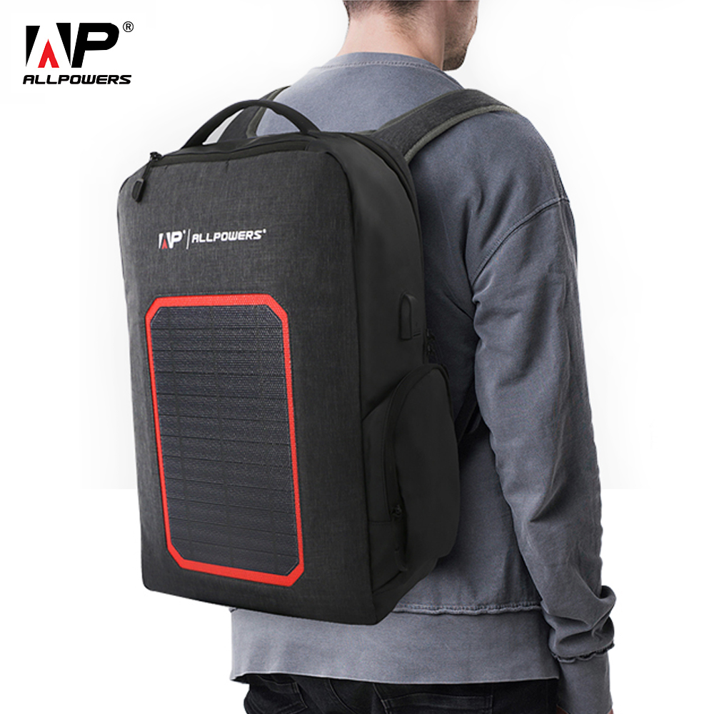 ALLPOWERS Solar Power Bank 6000mAh Built-in Solar Backpack Waterproof Solar Latop Backpack Charging For Cell Phones And Tablets.