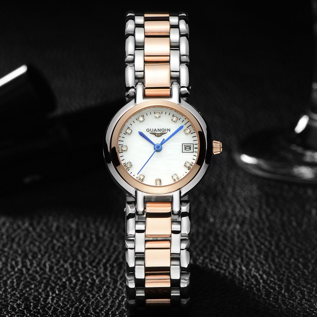 de luxo senhoras moda relógio banda aço