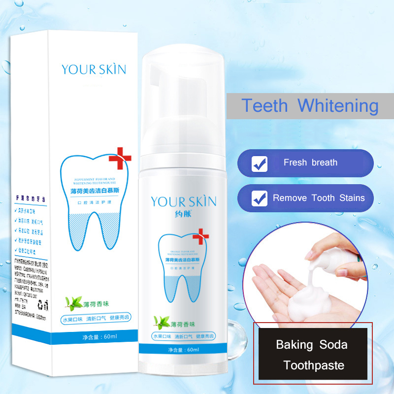 Teeth Whitening Mousse Toothpaste Tooth-Cleaning Fresh Shining Oral Hygiene Removes Plaque Stains Bad Breath Dental Tool