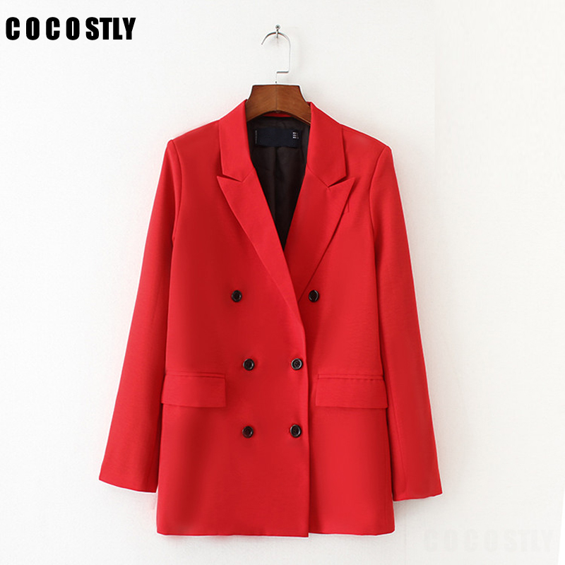 Solid Red Blazer Women Solid Outerwear Lady Fashion OL Classic Collar Double Breasted Suit Jackets Long Basic Outerswear