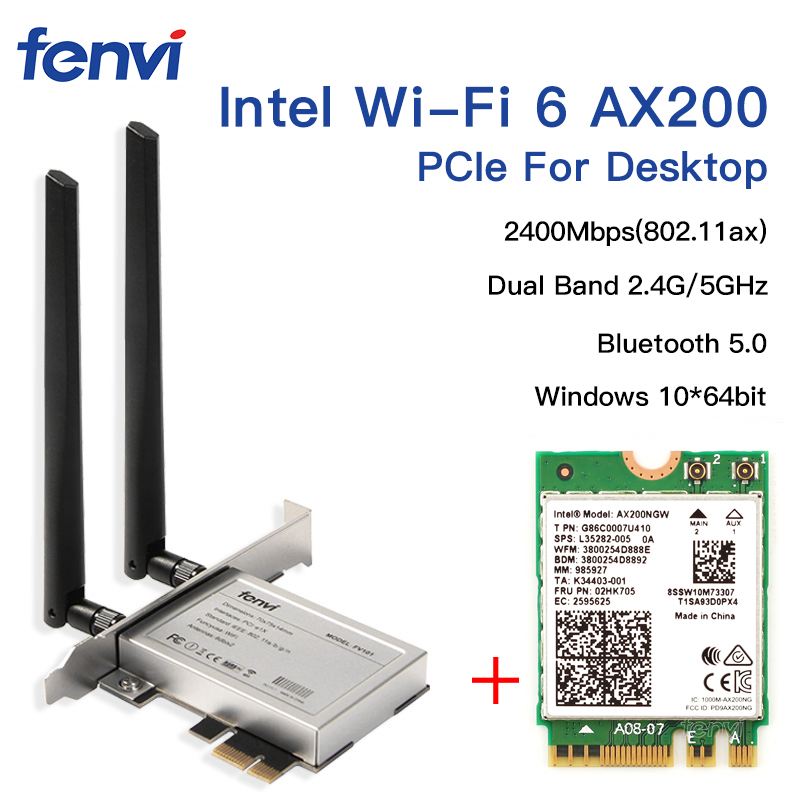 Desktop Wireless Dual Band 2400Mbps Bluetooth 5.0 NGFF M.2 Wifi Adapter For Intel AX200 Wi-Fi Card 802.11ac/ax Windows 10