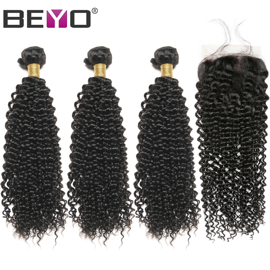 Kinky Curly Hair With Closure Human Hair 3 Bundles With Closure Non Remy Hair Bundles With Closure Cambodian Hair Extension Beyo-in 3/4 Bundles with Closure from Hair Extensions & Wigs    1