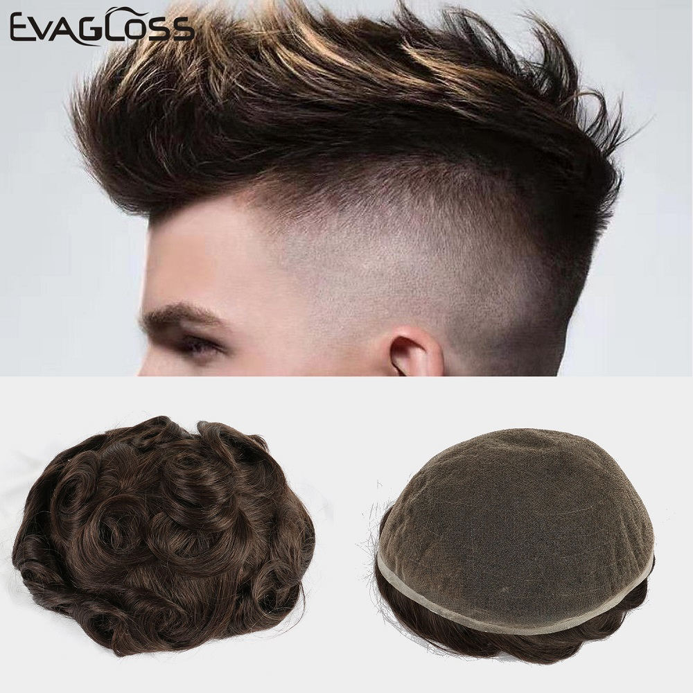 EVAGLOSS Bleached Knots Swiss Lace Mens Hair Toupee 8x10 Inches Natural Remy Human Hair Mens Wigs Systems Full Lace Mens Toupee