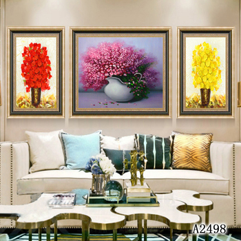Modern Abstract Oil Painting Print on Canvas 3pcs Thick Oil Stereoscopic Flower Canvas Printing Wall Art Picture for Home Decor