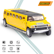 HOBEKARS 1:32 Metal Model Car Diecast & Toy Vehicles Lengthen Simulation Alloy Pull Back Toys With Sound And Light For Kids Gift 1 32 toy car simulation alloy catapult chariot three in one children sound and light pull back toy racing car ornaments model