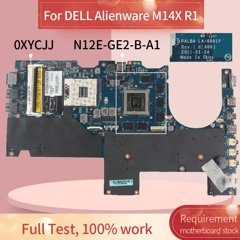 CN-0XYCJJ 0XYCJJ Laptop motherboard For DELL Alienware M14X R1 GT555M Notebook Mainboard PALB0 LA-6801P HM67 N12E-GE2-B-A1 DDR3 image