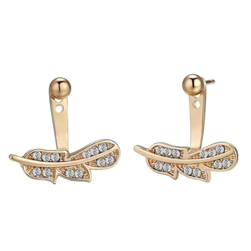 Серьги с цирконами и кристаллами в виде любовных букв, Женские Крошечные золотые геометрические передние серьги на спине, корейские ювелирные изделия