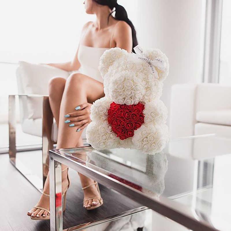 Trasporto di Goccia 40 Centimetri Rosso Teddy Bear di Rosa Fiore Artificiale Contenitore di Regalo di Natale per Le Donne di San Valentino Regalo di Giorno orso di Peluche