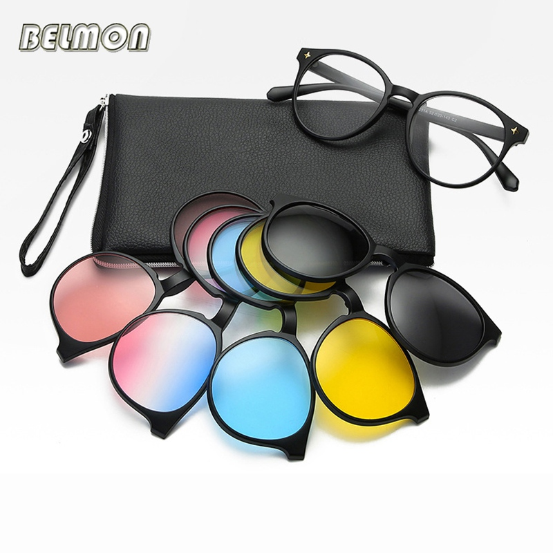 Fashion Optical Spectacle Frame Men Women Myopia With 5 Clip On Sunglasses Polarized Magnetic Glasses For Male Eyeglasses RS1019