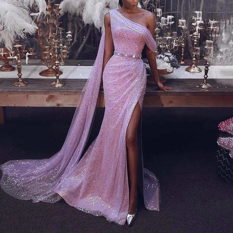 2020 Prom Dresses One Shoulder Long Sleeve Sequined Evening Gowns Ankle Length Side Split Formal Special Occasion Dress