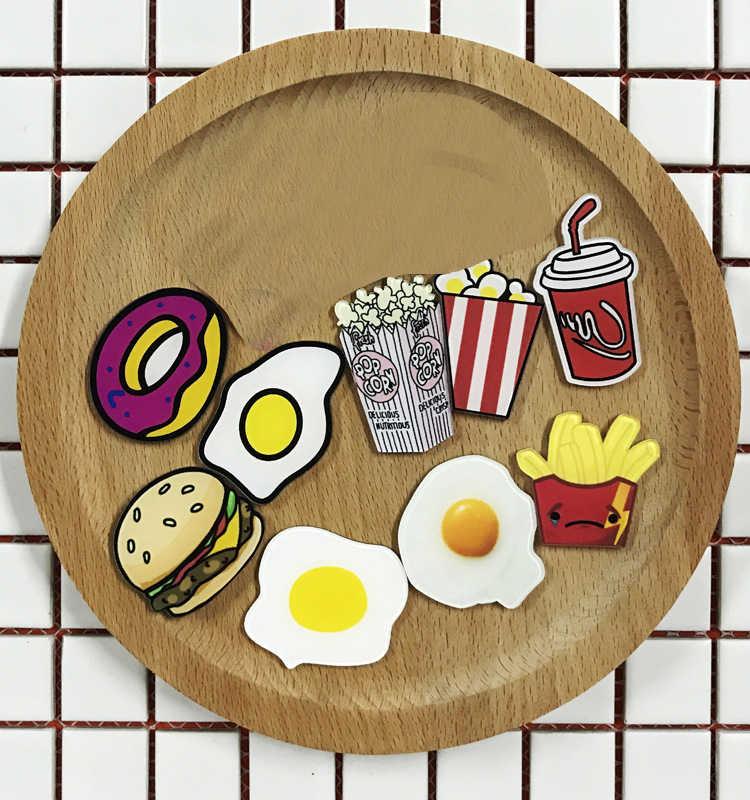 食品ブローチドリンクハンバーガードーナツポーチドエッグフランスフライドポテトフライドポテト帽子シャツ襟バッグチェーンブローチ高速食品ジュエリー