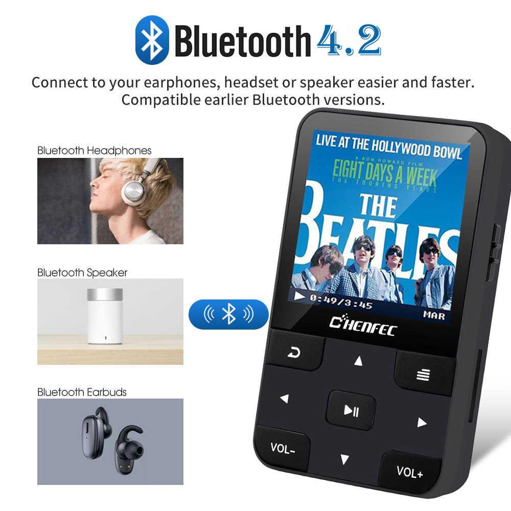 ポータブルクリップ MP3 プレーヤー Bluetooth 4.0 ロスレスサウンド 16 ギガバイトスポーツレコーダービデオ FM ラジオサポート SD アップに 128 グラム (ブラック)