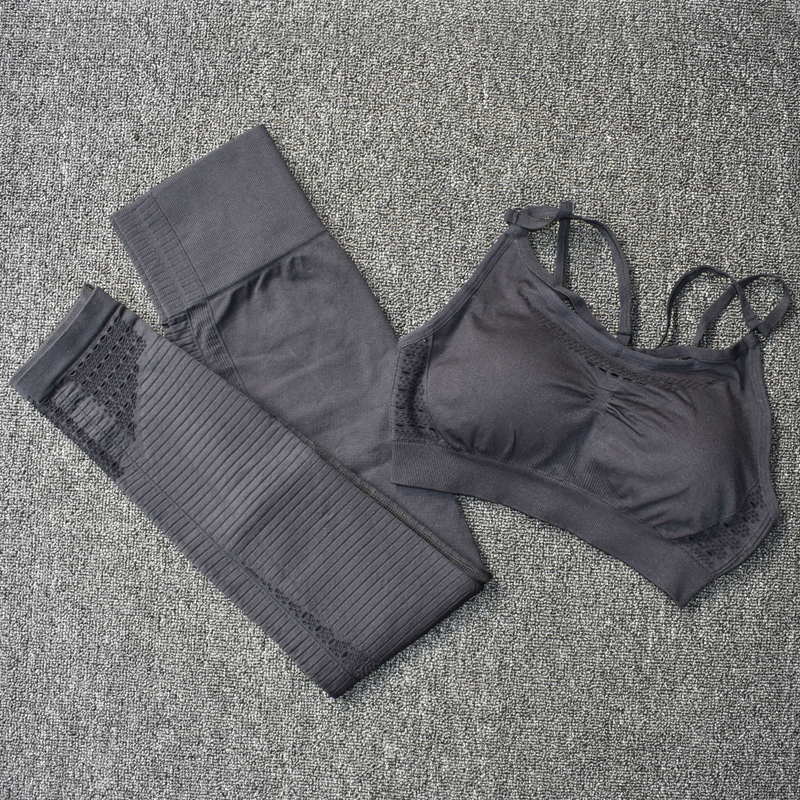 2 Pcs Sports Suits Seamless Yoga Set Women Fitness Gym Clothing Sportswear Woman Gym Leggings Padded Push-up Strappy Sports Bra
