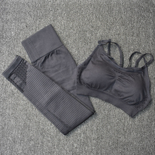 2 Pcs Sports Suits Seamless Yoga Set Women Fitness Gym Clothing Sportswear Woman Gym Leggings Padded Push-up Strappy Sports Bra 3 pcs sports suits yoga set workout women fitness clothing breathable running sportswear woman gym leggings push up athletic bra