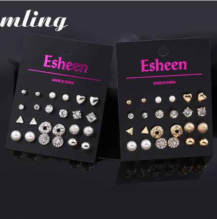 12 pares de pendientes triangulares para mujer, pendientes de cristal con forma de corazón, pendientes de imitación perforados para mujer, pendientes con flores de perlas