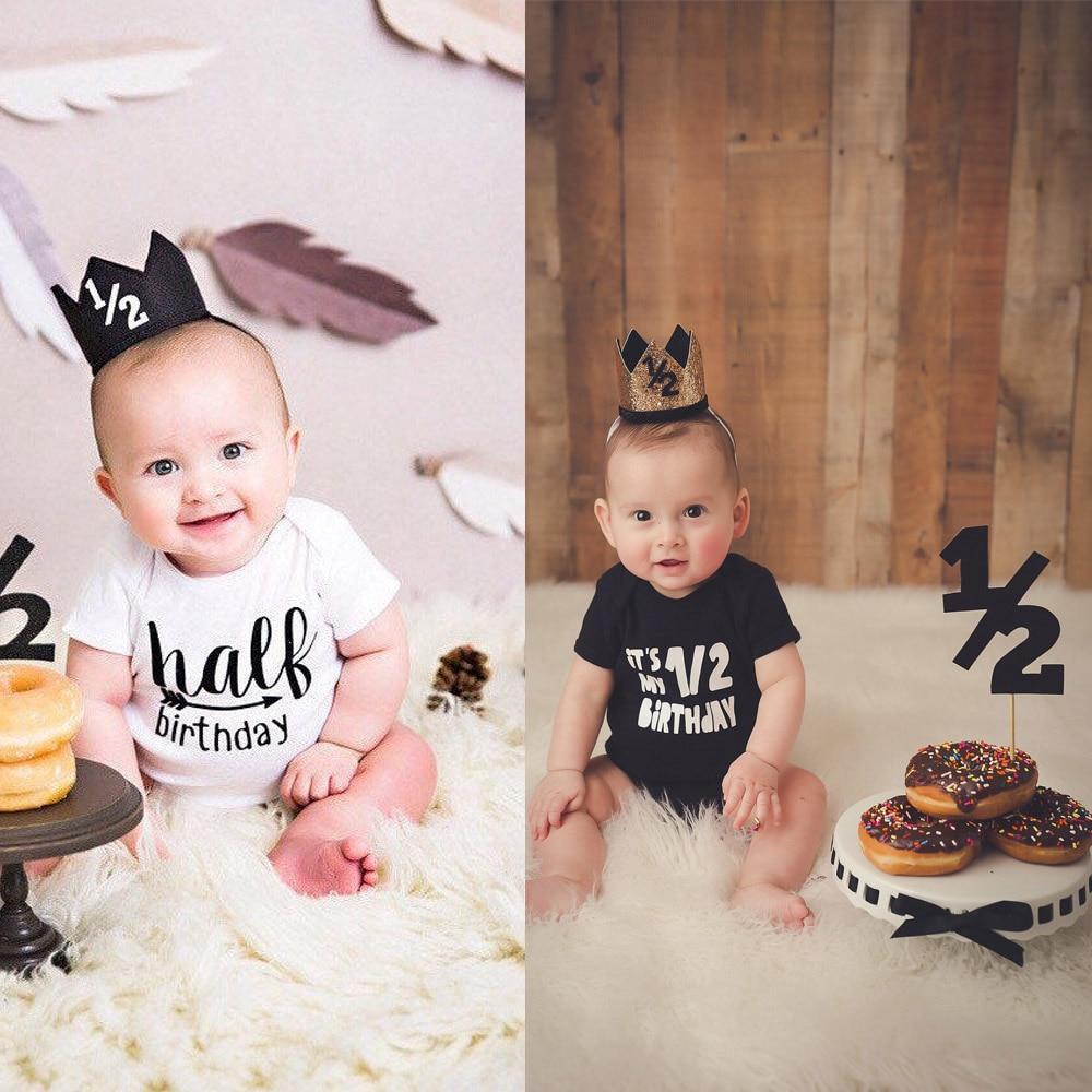 One Half Birthday Rompers Half Brithday Shirt 1/2 Half Birthday One-piece Boy Half Birthday Outfits Gender Neutral Baby Gift