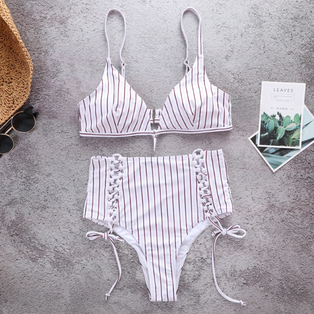 Sexy Women High Waist Bikini Set Stripe Bandage Swimwear New Swimsuit Push Up Padded Beach Bathing Suit Hot Sale Swimming Suit