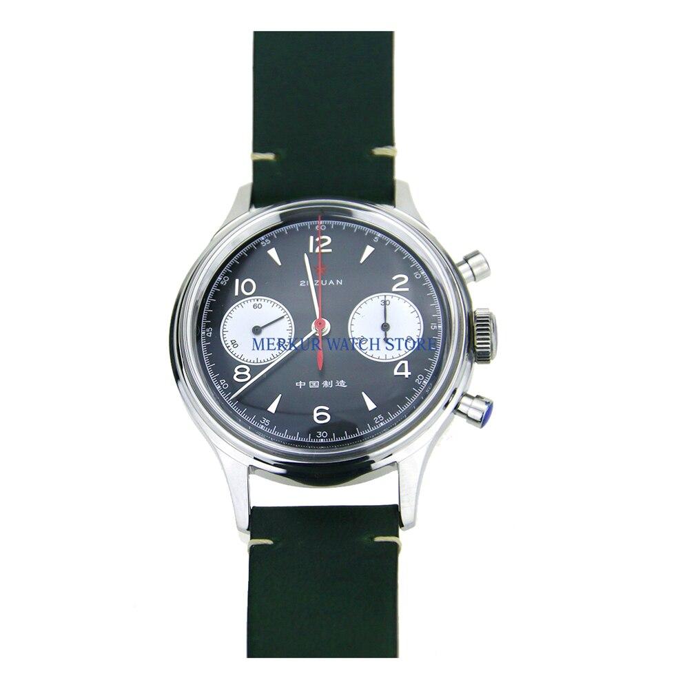 Saatler'ten Mekanik Saatler'de Kırmızı yıldız mekanik kronograf için martı 1963 ST1901 hareketi Mens Pilot izle Flieger B UHR Handwinding askeri Panda siyah title=