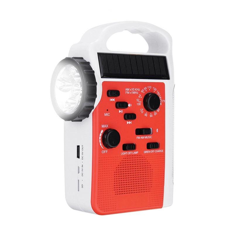 AM/FM Bluetooth Solar Hand Crank Dynamo Outdoor Radio With Speaker Emergency Receiver Mobile Power Supply Flashlight