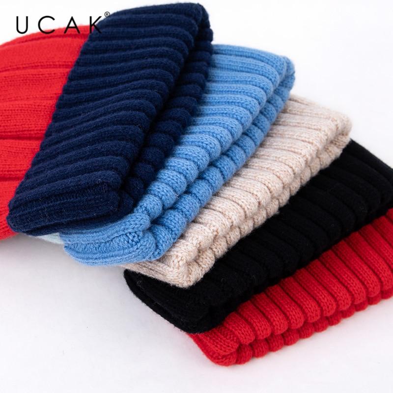 Женская вязаная шапка в полоску из чистой шерсти 5 цветов