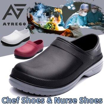 Туфли AtreGo мужские для шеф-повара, Нескользящие, светильник кие, Водонепроницаемые многофункциональные, для ресторана, сада, Безопасная рабо...