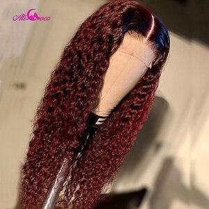Монгольский афро кудрявый вьющийся парик с эффектом омбре 1B99, плотность 180%, парики из человеческих волос на сетке спереди для черных женщин,...