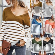 Women's Sweater Casual Streetwear Long Sleeve Sweater Stripe Print Color Block Loose Pullover Tops Knitted Jumper jersey mujer(China)